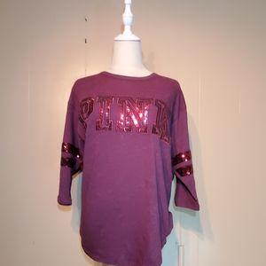 Pink Victoria's Secret Maroon Sequined Shirt